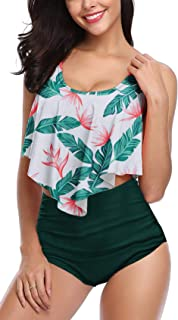 Womens High Waisted Swimsuit Ruffled Top Tummy Control Bathing Suits