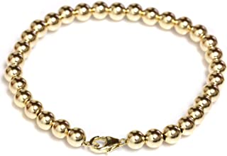 "Seven Seas Pearls 14k Gold Beaded Ball Bracelet with Lobster Clasp 4 mm Beads 6"" to 8.5"""
