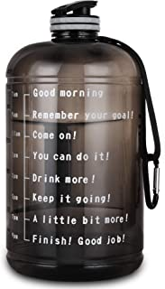 Upmore 1 Gallon / 128oz Water Bottle with Motivational Time Marker 128oz / 73oz Large Capacity BPA Free Reusable Sports Water Jug with Handle to Drink More Water(PFTG or TRITAN)