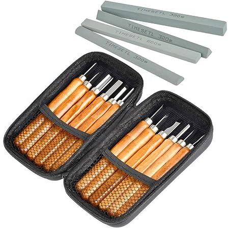TIMESETL Outils de gravure 12pcs Ciseaux à Bois en acier carbone SK2 manches en bois avec 4pcs Pierres à aiguiser pour Sculpteur, Charpentier, Amateur