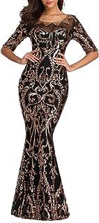 Risestaryiding Formal Sequins Evening Dress Half Sleeve Beading Long Party Dresses
