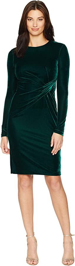 Long Sleeve Velvet Sheath w/ Draping