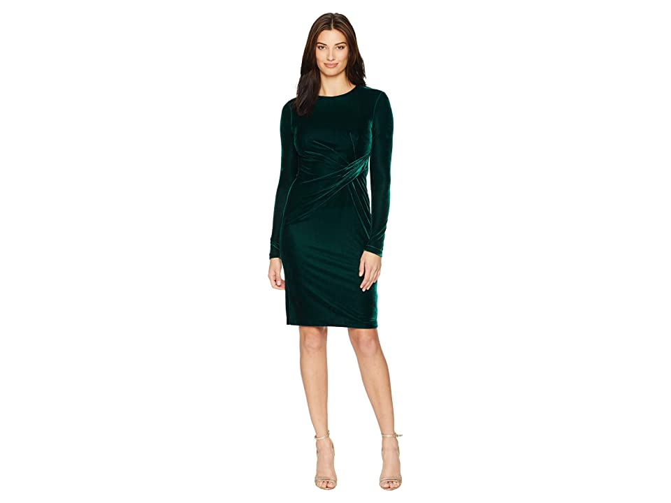 Donna Morgan Long Sleeve Velvet Sheath w/ Draping (Viridian Green) Women