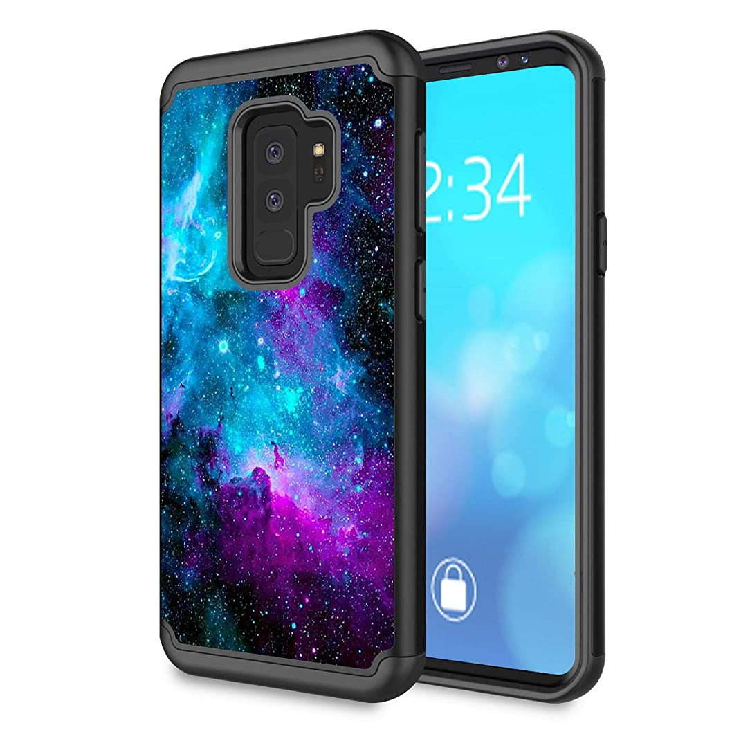 Galaxy S9 Plus Case,Rossy Galaxy Nebula Space Design Shock-Absorption Hard PC and Soft Silicone Dual Layer Hybrid Armor Defender Protective Case Cover for Samsung Galaxy S9 Plus (2018)