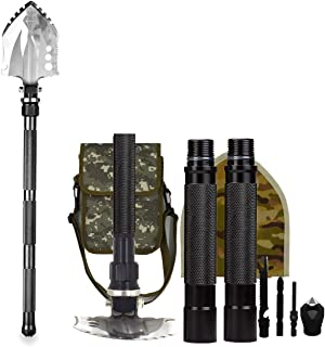 BAALAND Military Folding Shovel, Entrenching Tools Camp Survival Shovel with Tactic Multitool for Car Emergency Hiking Backpacking Metal Detecting Garden Fishing(Bag Included)