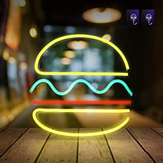 AYYDS Burger Leuchtreklamen Neonlichter LED-Licht Neon Wort Buchstaben Licht Gaming Dekor Wand Dekor für Baby Zimmer Gebur...