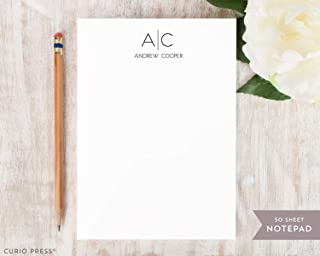 THIN LINE MONOGRAM NOTEPAD - Personalized Professional Simple Mens Masculine Customized Stationery/Stationary Business Pad Gift