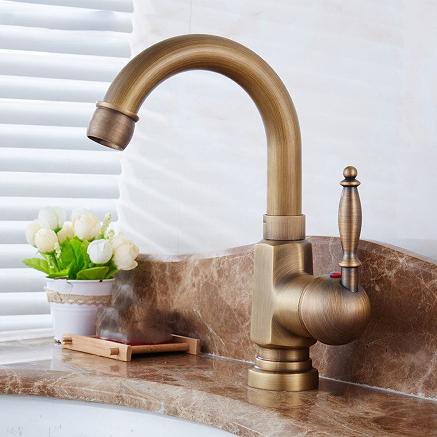 Hlluya Professional Sink Mixer Tap Kitchen Faucet Antique full copper cold water surface basin basin Washbasin Faucet, B