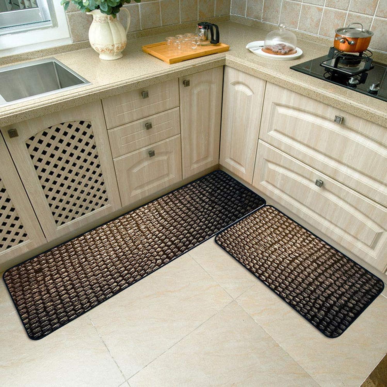 Washable Modern Crocodile Stripes Kitchen Floor Mats Crystal Velvet Non-Slip Area Rugs Carpets for Bathroom Bedroom Hallway Home Decor,1pc40×60cm+1pc40×120cm