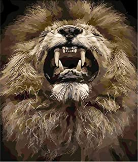Hwhz Frameless Lion Animal King Painting by Numbers Canvas Painting Print On Canvas Unique Gift Home Decor Wall Artwork Hand Work C