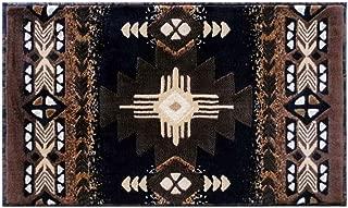 South West Native American Door Mat Area Rug Design C318 Black (24 Inch X 40 Inch)