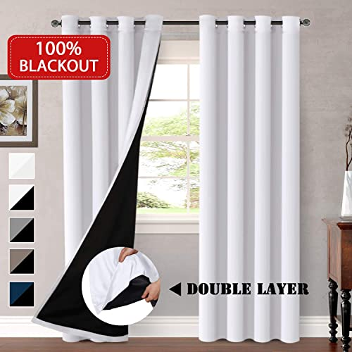 HVERSAILTEX 100 Blackout White Curtains For Bedroom Faux Silk Satin With Black Liner