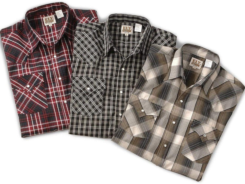ELY CATTLEMAN Men's Walker Assorted Long Sleeve Western Shirt Big and Tall Plaid XXX-Large Tall