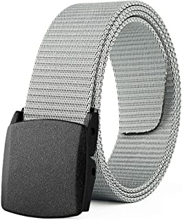 YAOLUU Cinturón de Lona para Hombre Cinturón automático de Hebilla Lisa Pantalones Ligeros Ocasionales (Color : A)