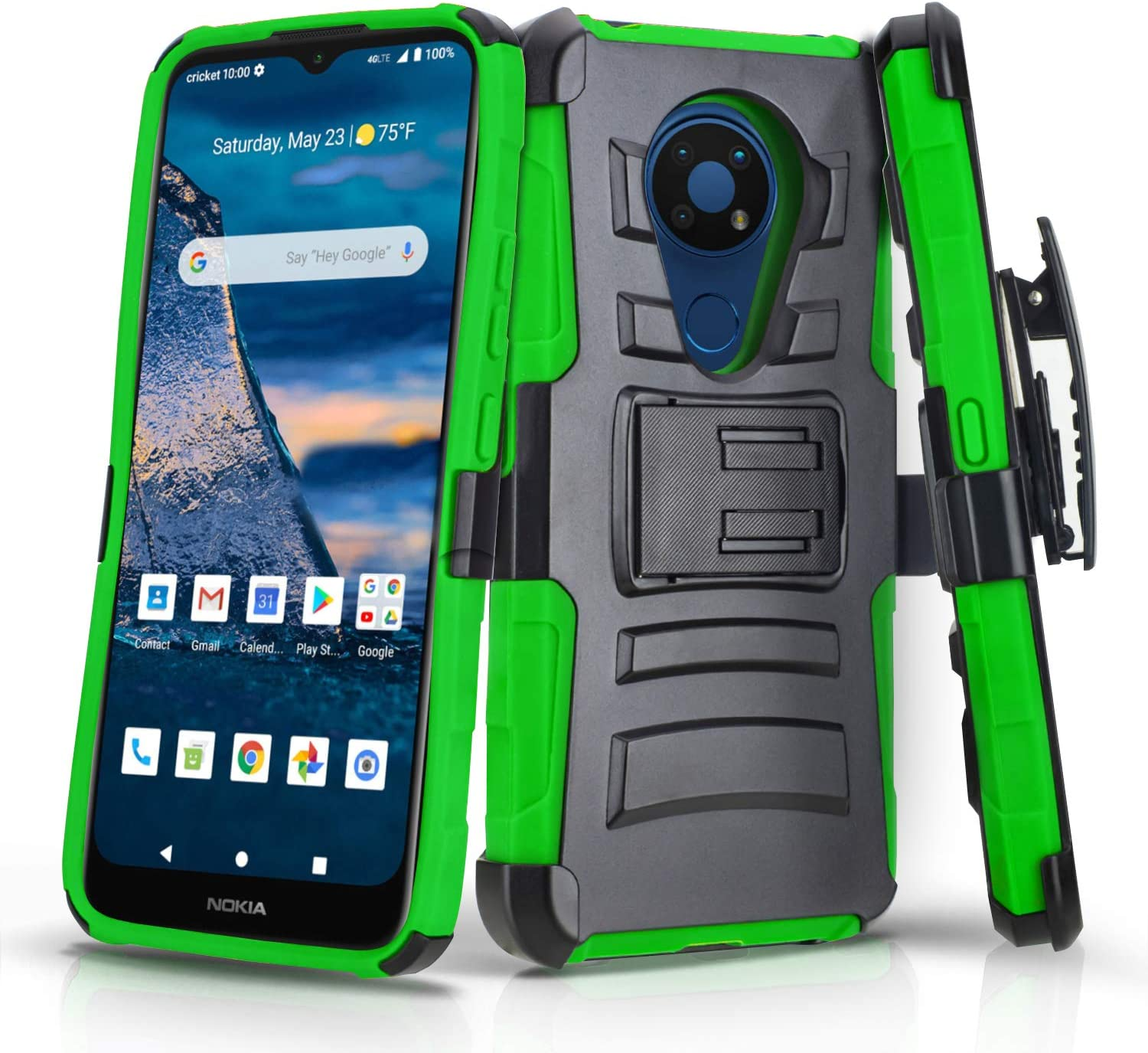 CasemartUSA Phone Case for [Nokia C5 Endi (Cricket Wireless)], [Refined Series][Green] Shockproof Protective Cover with Built-in Kickstand & Swivel Belt Clip Holster for Nokia C5 Endi
