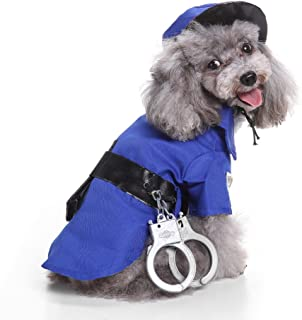 Glumes Police Pet Costume with Hat & Handcuffs for Dogs Outfit Dog Vest Halloween Day Dog Costumes Cool Cute Dog Pet Cosplay Clothing
