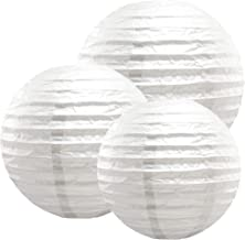 "LumaBase 72006 6 Count Multi Size Paper Lanterns, 12""/14""/16"", White"