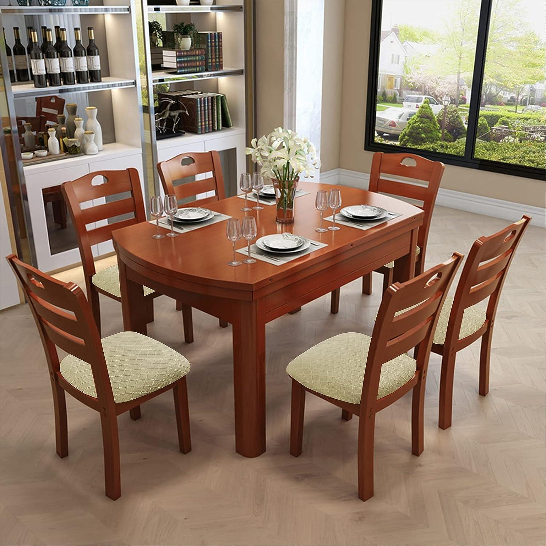 Genina Waterproof Seat Covers for Dining Room Chairs Covers Dining Chair  Cover Kitchen Chair Covers Beige, 9 Pcs