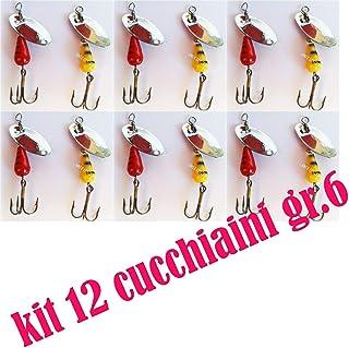 Generico Cucchiaini Rotanti con Ciuffo Rosso No Martin Artificiali Pesca Spinning Luccio