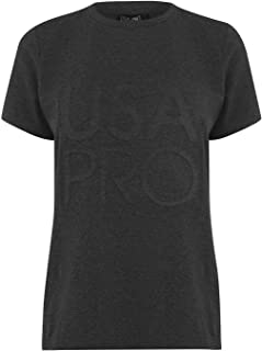 USA Pro Womens Long Line T-Shirt Short Sleeve Charcoal Marl UK 8 (XS)