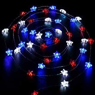 Impress Life Independence Day Decor, USA American Stars Flag Lighting 4th July, 10ft 40 LEDs Red White Blue String Lights ...