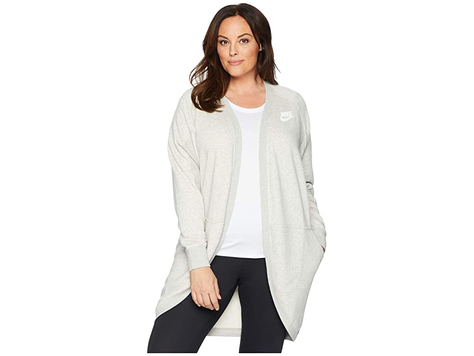 Nike Plus Size Rally Rib Extended Cardigan (Grey Heather/Pale Grey/White) Women