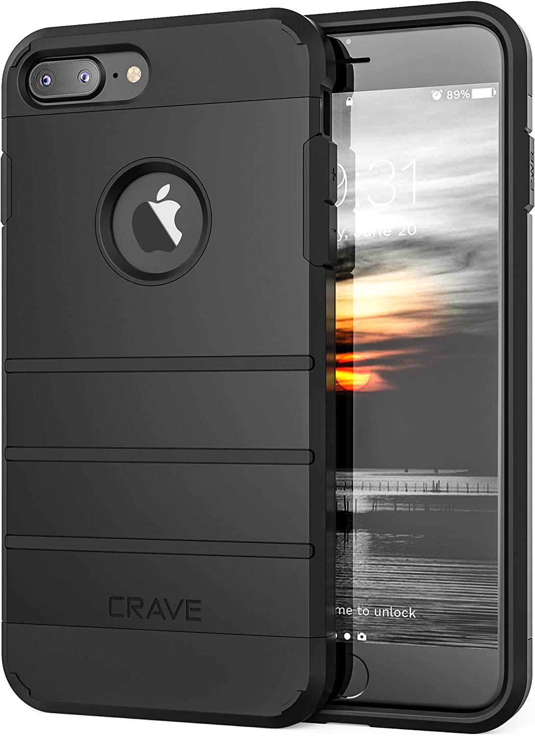 Crave iPhone 8 Plus Case, iPhone 7 Plus Case, Strong Guard Protection Series Case for Apple iPhone 8/7 Plus (5.5 Inch) - Black