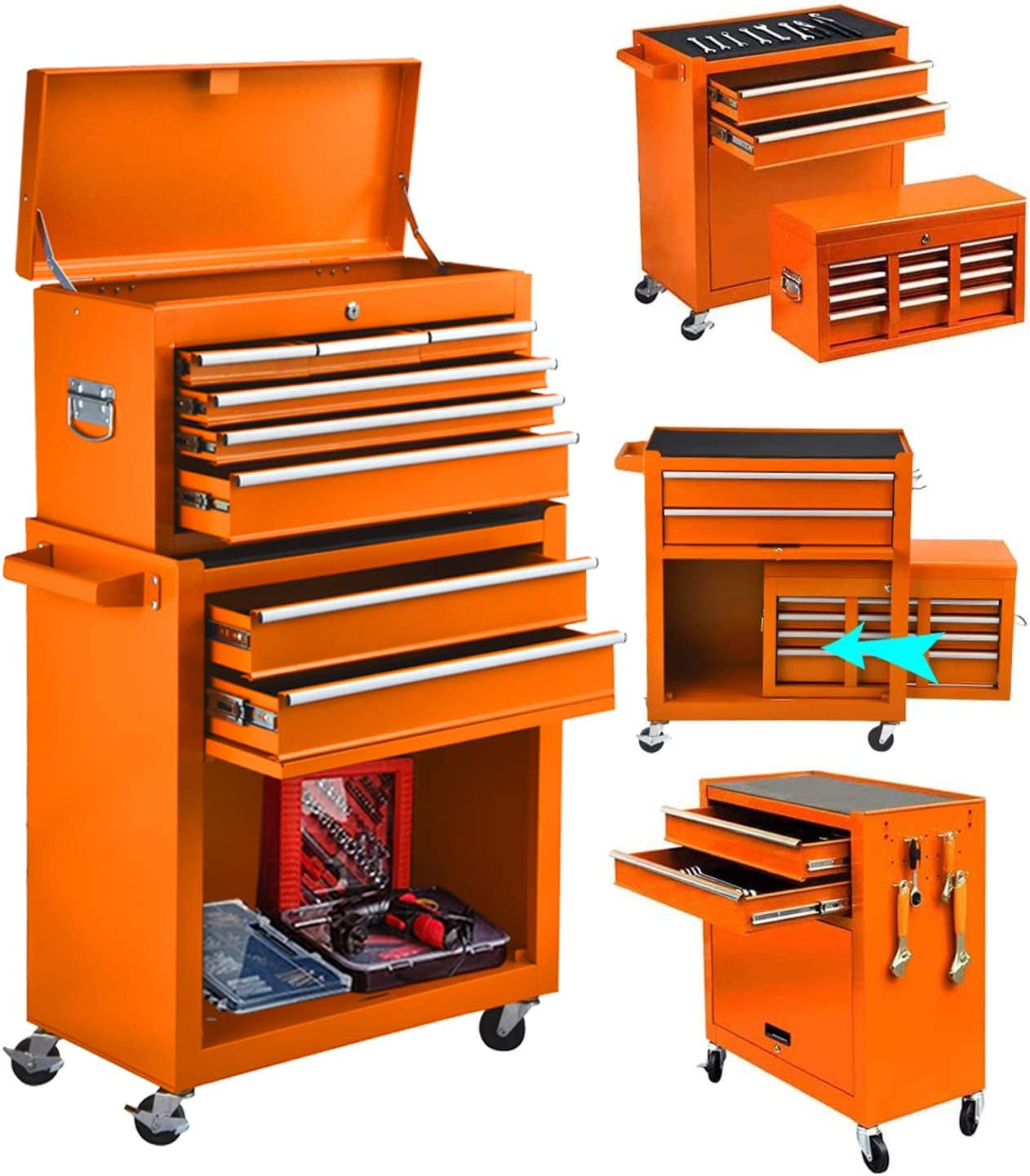 8-Drawer Big Tool Popular popular Chest Of Thick Rollin in 1 Detachable San Francisco Mall 2 Steel