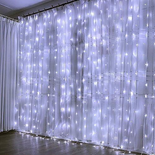 Guirlande Lumineuse Rideau 300 LED Rideau Lumineux 3M*3M 8 Modes d'Eclairage Etanche IP44 Exterieur et Interieur, Dec...