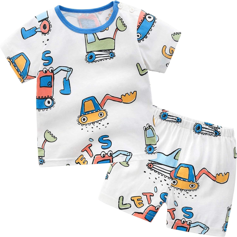 Vinesen 2 PC Little Babies Clothes Set Cotton Short Sleeve Shorts Set Summer