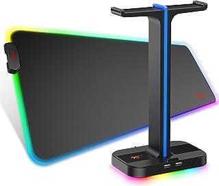 havit RGB Gaming Mauspad & Kopfhörer ständer Combo Set, weiche rutschfeste Gummimatte Mausmatte, Dual Headset headset halt...