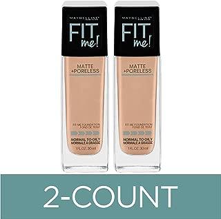 Maybelline Fit Me Matte + Poreless Liquid Foundation Makeup, Rich Tan, 2 COUNT