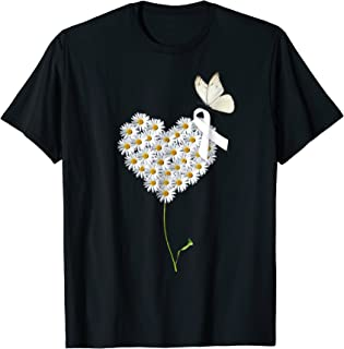 de7408b7990dd Lung Cancer Fight Tshirt Flower and Butterfly White Ribbon