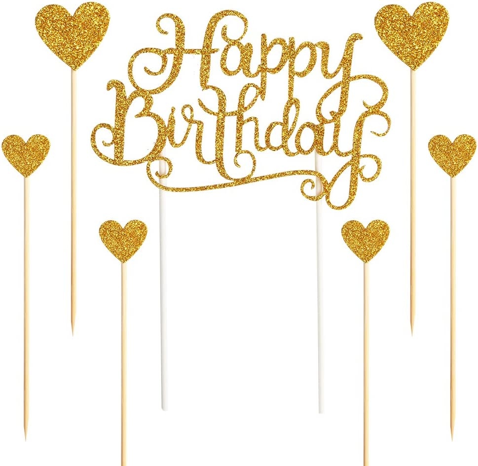 """PALASASA Happy Birthday Cake Toppers Gold glitter letters""""happy birthday""""and love star,Party decor Decorations,Set of 7"""
