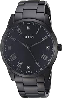 GUESS Men's Stainless Steel Black Ionic Plated Bracelet Watch with Black Genuine Diamond Dial + Silver-Tone Roman Numerals. Color: Black (Model U1194G4)
