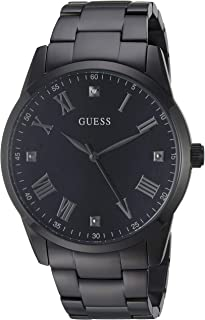 GUESS Stainless Steel Black Ionic Plated Bracelet Watch with Black Genuine Diamond Dial + Silver-Tone Roman Numerals. Color: Black (Model U1194G4)
