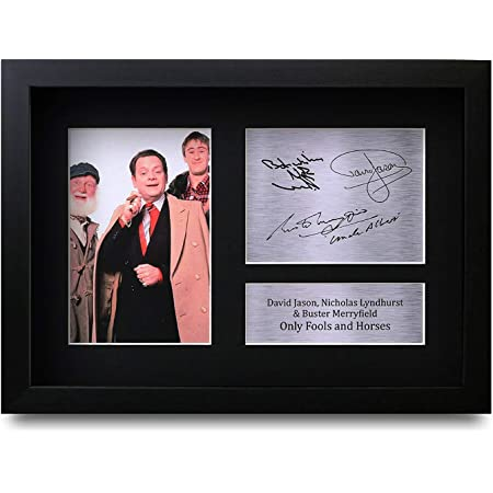 HWC Trading FR Only Fools and Horses Gifts David Jason Gift Nicholas Lyndhurst and Buster Merryfield Signed FRAMED A4 Printed Autograph Del Boy Rodney Trotter Uncle Albert Print Photo Picture Display