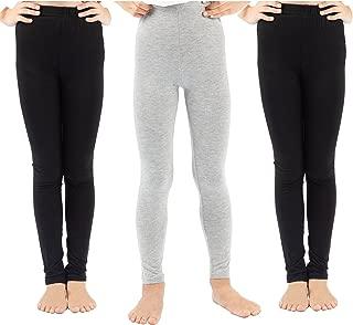3 Pack Girls Solid Leggings Pants Classic Leggings for Kids