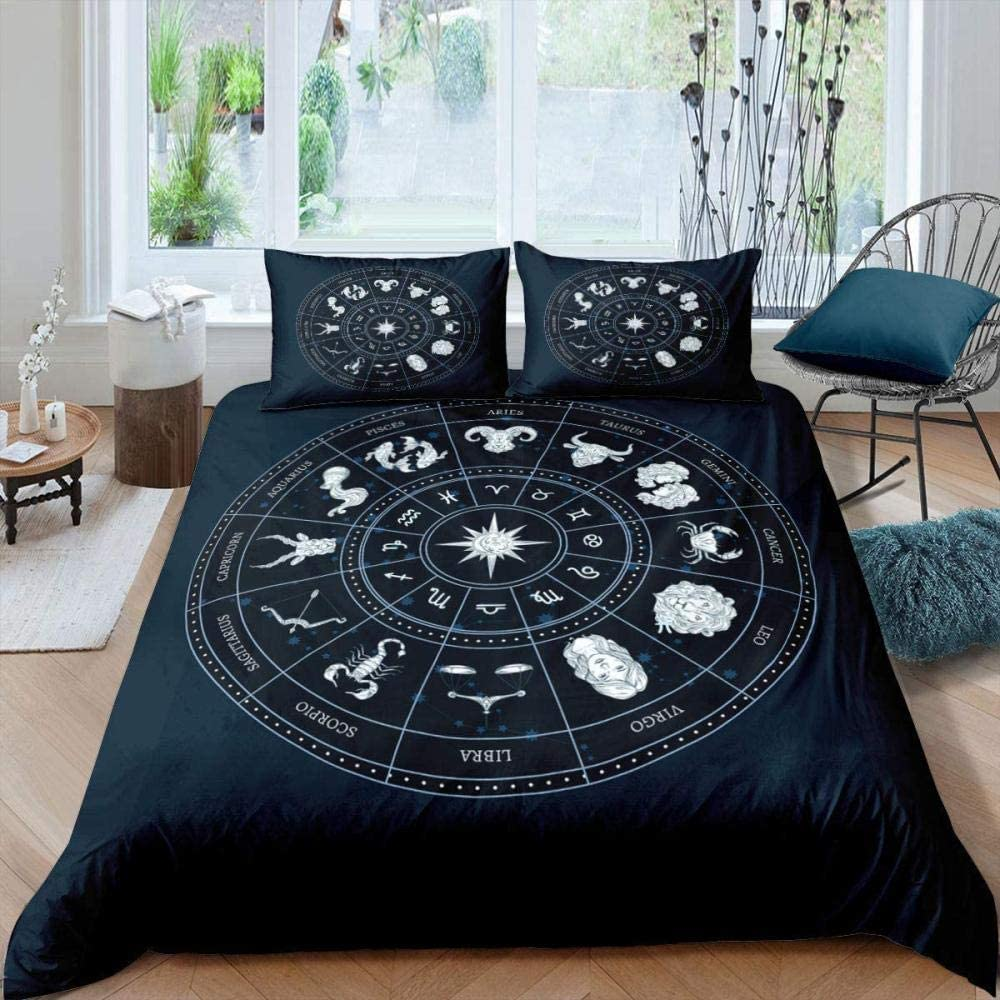 AWDDDER Retro Twelve Constellations Pattern Bedding Set New Limited time trial price popularity Black Do