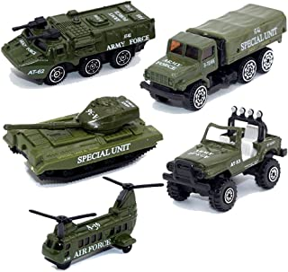 MinYn Army Vehicles Alloy Military Model Car Set 5 pcs Diecast Metal Army Toys Mini Helicopter Tank Jeep Truck Armored Car for Kids Boys