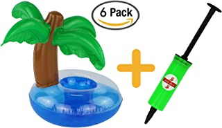 Just-Best Toys for Pool Items - Inflatable Palm Island Drink Holder (6 Packs) with a Mini Air Pump for Fun Water Floats