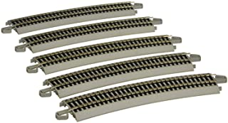 """Bachmann Trains - Snap-Fit E-Z Track 26"""" Radius Curved Track (5/Card) - Nickel Silver Rail with Gray Roadbed - HO Scale"""