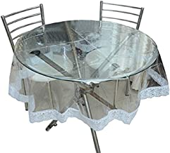 LOOMANTHA PVC 6 Seater Round Transparent Dining Table Cover Cloth (Standard)