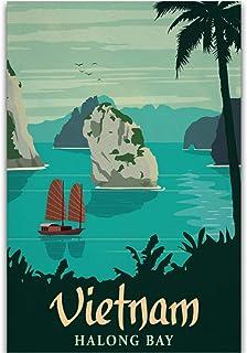 Vietnam Halong Bay Vintage Voyage Paysage Tourisme Impression sur Toile HD Art Affiche Photos Salon Photos décor à la mais...