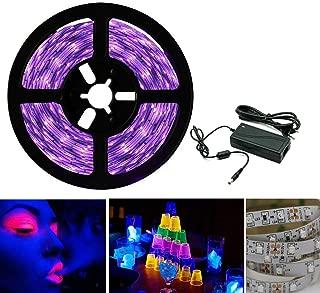 Tira de luces LED UV de luz negra, banda SMD 3528, luz ultravioleta, con fuente de alimentación, lila, 5 m, IP20
