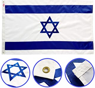 Winbee Israel Flag 3x5 Ft - Premium Double Sided Embroidered, Long Lasting 300D Nylon, Quadruple Stitched, Brass Grommets and UV Protected. Best Israeli Flag. Outdoor/Indoor Display.