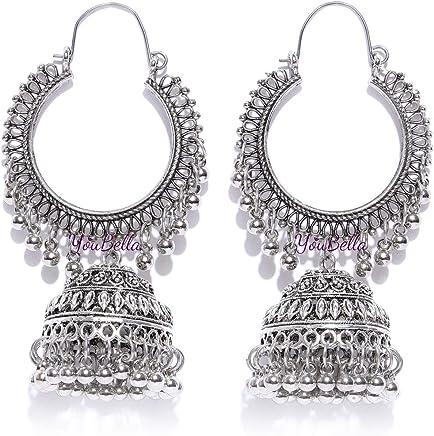 YouBella Stylish Party Wear Afghani Jewellery Oxidized Silver Jhumkis Earrings for Women (Silver)(YBEAR_32197)