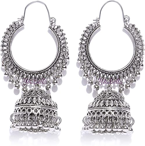 Fancy Party Wear Jewellery Afghani Kashmiri Jhumka Oxidized Silver Earrings for Girls and Women