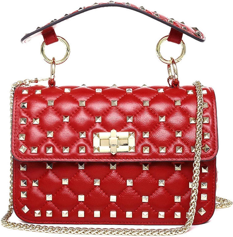 Genuine Leather Rivet Shoulder Bags for Women 100% Sheepskin Ladies Fashion Chain Crossbody Bag,Red,S21cm