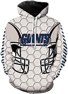 Men's Hooded Long Sleeve 3D Digital Print New York Giants Football Team Sports Pullover Hoodies